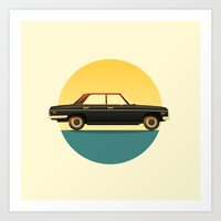 mercedes Art Prints featuring Mercedes 200 at Sunset by chucklehound