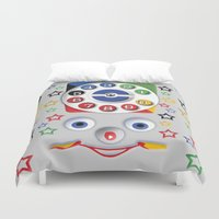 cartoons Duvet Covers featuring Retro Vintage smiley kids Toys Dial Phone iPhone 4 4s 5 5s 5c, ipod, ipad, pillow case and tshirt by Three Second