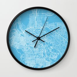 El Paso map blue Wall Clock