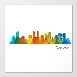 Denver Colorado City Watercolor Skyline Hq v1 Canvas Print