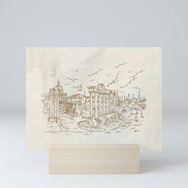 temples in Foro Romano, Rome, Italy hand draw Mini Art Print