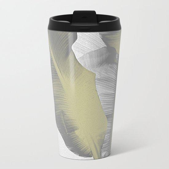 Gray and Gold I Banana Leaves Metal Travel Mug