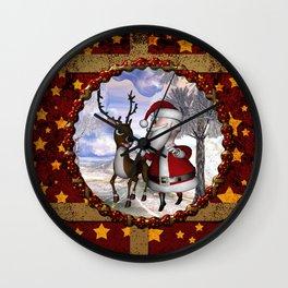Santa Claus with reindeer Wall Clock