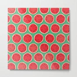 watermelon polka green Metal Print