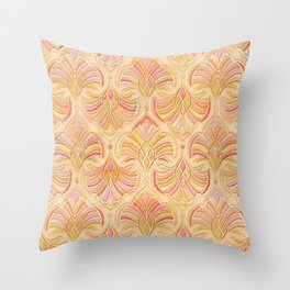 Rose Gold and Apricot Gilded Art Deco Throw Pillow