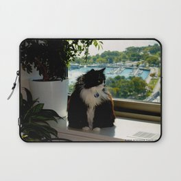 Contemplating Cat (Gracie Queen of Chicago Collection) Laptop Sleeve