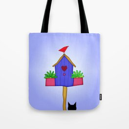 Funky Red Bird Tote Bag