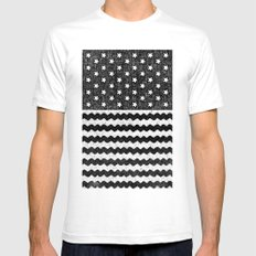 Black Zig Zag Flag SMALL White Mens Fitted Tee