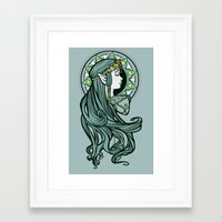 nouveau Framed Art Prints featuring Zelda Nouveau by Karen Hallion Illustrations