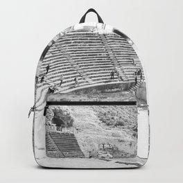 Travel Escape | Arena Ruins Ephesus Black and White Stadium European Mountain Wilderness Landscape Backpack