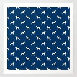 Boxer dog breed pattern dog gifts navy and white minimal dog silhouette Art Print