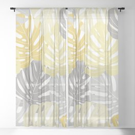 Yellow monstera deliciosa leaves Sheer Curtain