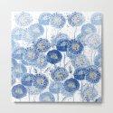 blue indigo dandelion pattern watercolor by colorandcolor
