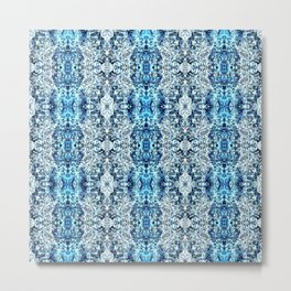 Beautiful Blue Foklore Damask Pattern Metal Print