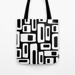 Retro Mid Century Modern Abstract Pattern 335 Black and White Tote Bag