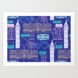 Queen and Country - Blue Art Print