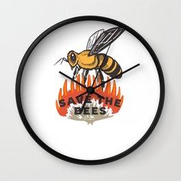 Save the Bees Quote / Pollinators Environmental Awareness design Wall Clock