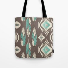 Native Roots - Turquoise & Brown Tote Bag