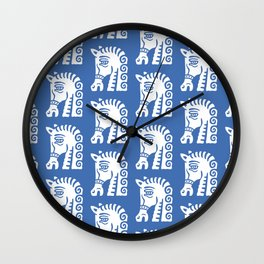Mid Century Horse Pattern Blue Wall Clock
