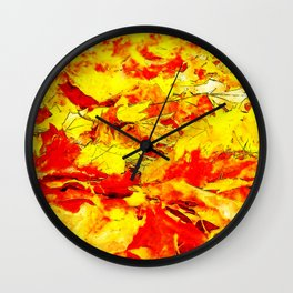 golden autumn leaves watercolor Wall Clock