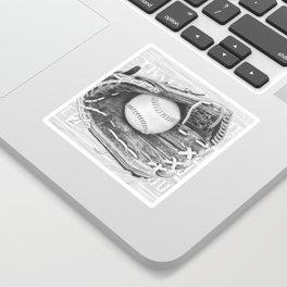 Softball (black and white) Sticker