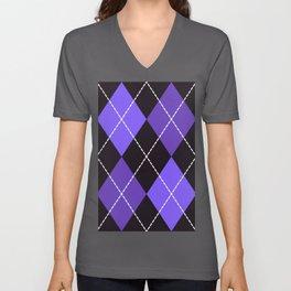 Dashed diamond check purple & black for Halloween Unisex V-Neck