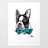 Bow Tie BostonTerrier - Blue Art Print
