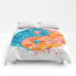 yin and Yang Symbol Watercolor painting Comforters