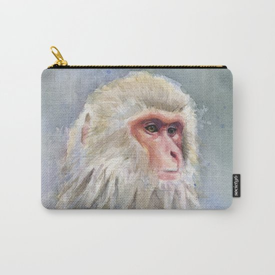 Snow Monkey Watercolor Animal Carry-All Pouch