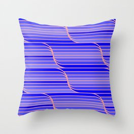 Geo Stripes - Cobalt Blue Throw Pillow
