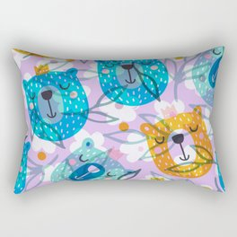cute floral and bears pattern Rectangular Pillow