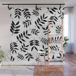 Black branch silhouettes on white background Wall Mural