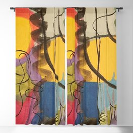 Crazy Mad World Multi Colored Abstract Blackout Curtain