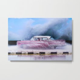 Waves and Classic Cars of the Malecón - 9 Metal Print