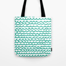 Squiggly Hand Drawn Lines in Mint  Tote Bag