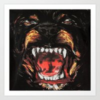 givenchy Art Prints featuring Givenchy Dogface by Beauti Asylum