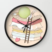 sleep Wall Clocks featuring Can't sleep by Naolito
