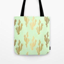 Cactus pattern gold green Tote Bag