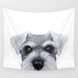 Schnauzer Grey&white, Dog illustration original painting print Wall Tapestry