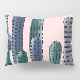 Stylized Cactus on Pink Pillow Sham