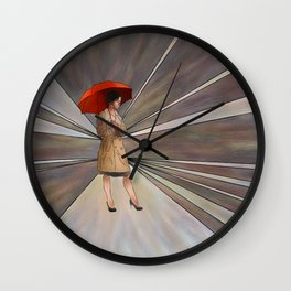 Limessia - beauty with umbrella Wall Clock