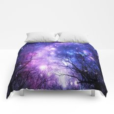 Black Trees Purple Blue Space Comforters