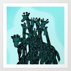 Zen Tangled Aqua Giraffe Art Print