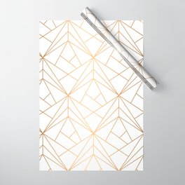 Geometric Gold Pattern With White Shimmer Wrapping Paper