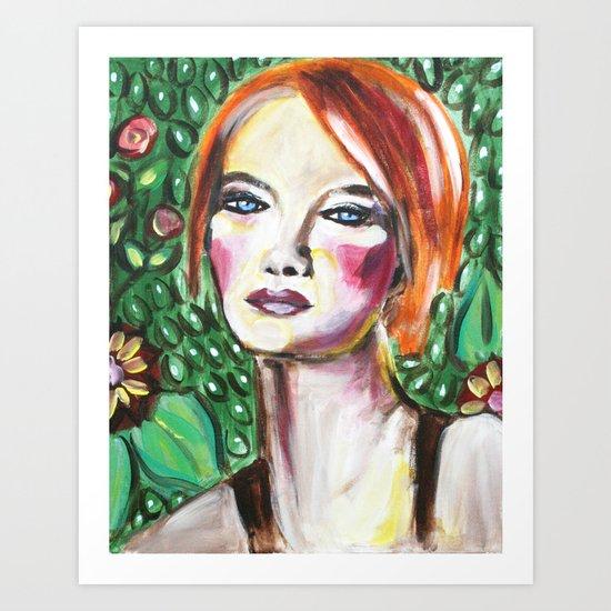 VanGogh Girl Art Print