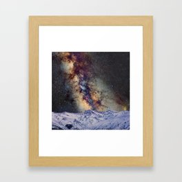 The star Antares, Scorpius and Sagitariuss over the hight mountains. The milky way. Framed Art Print