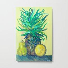 Pear and Pineapple Metal Print