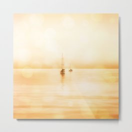 Bahama Sunset lonely sail boats Metal Print