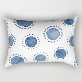 Beautiful Modern Home White & Indigo Polka Dot Pattern Rectangular Pillow