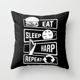Eat Sleep Harp Repeat - Stringed Instrument Music Throw Pillow